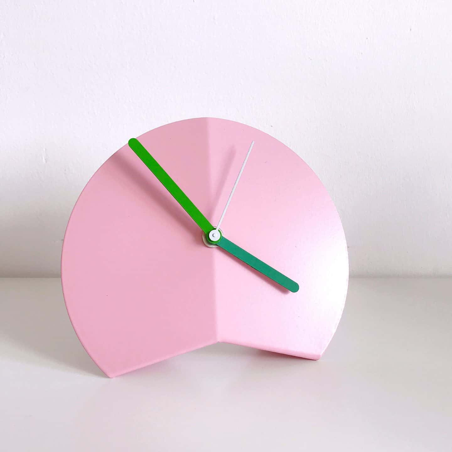Pink and green Block Designs clock