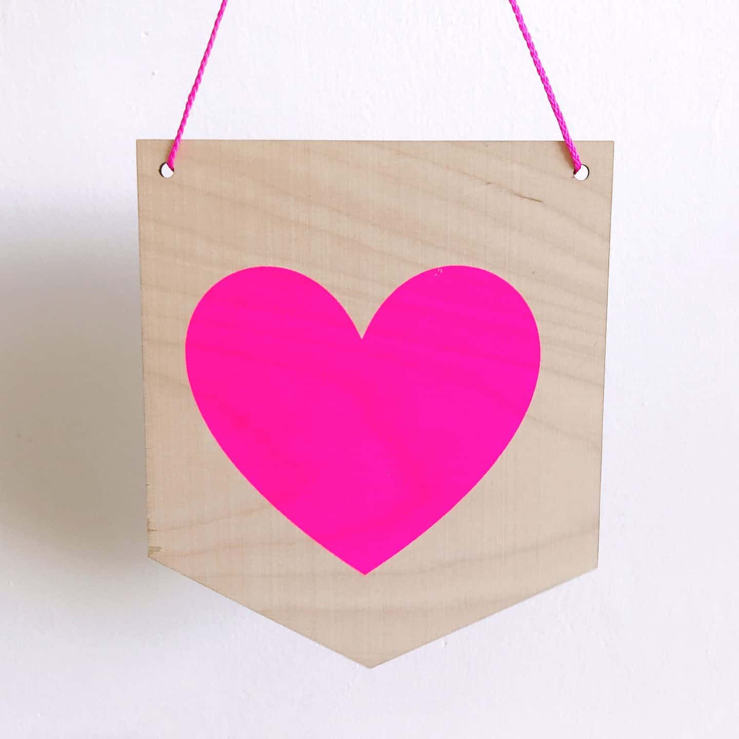 Pink screen printed heart by Flat 102