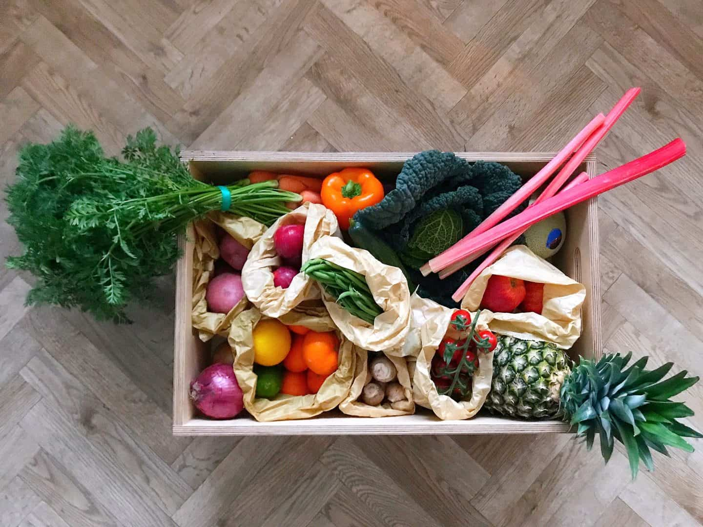 Plastic-free fruit and veg box from Harvest