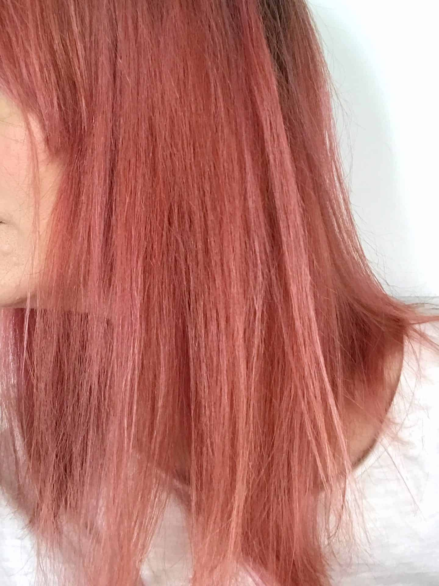 Side view of hair after leaving My. colour Ruby Shampoo on dry hair for 30 minutes