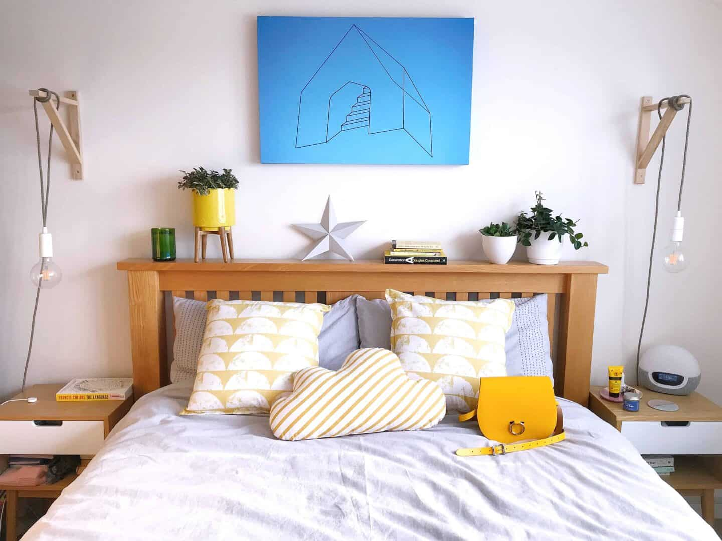 Styling my bedroom with Deyongs Nimes Yard Dyed Chambray Duvet Bed linen Set with yellow scatter cushions