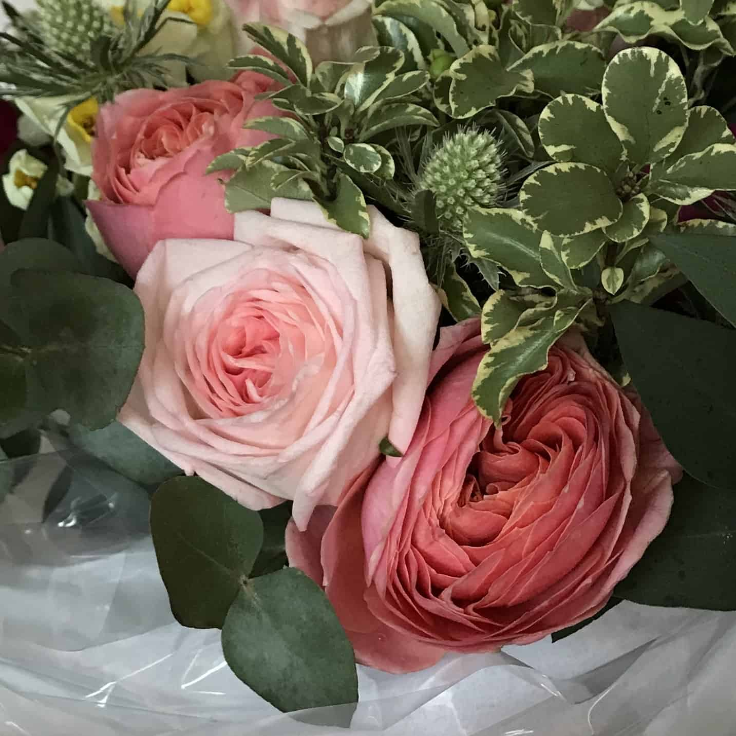 Sustainable pink roses and peonies