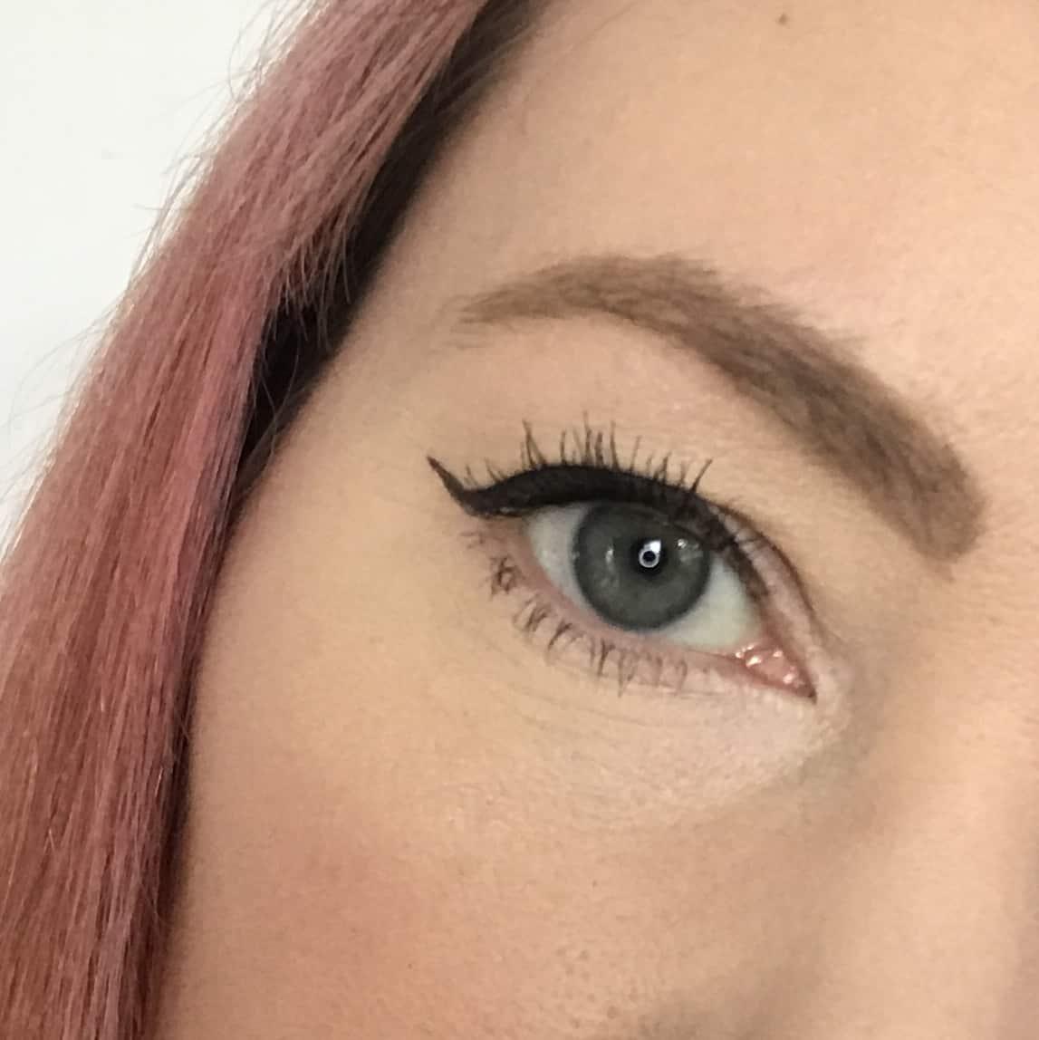 Wearing Inika Certified Organic Liquid Eyeliner from the March Love Lula Beauty Box