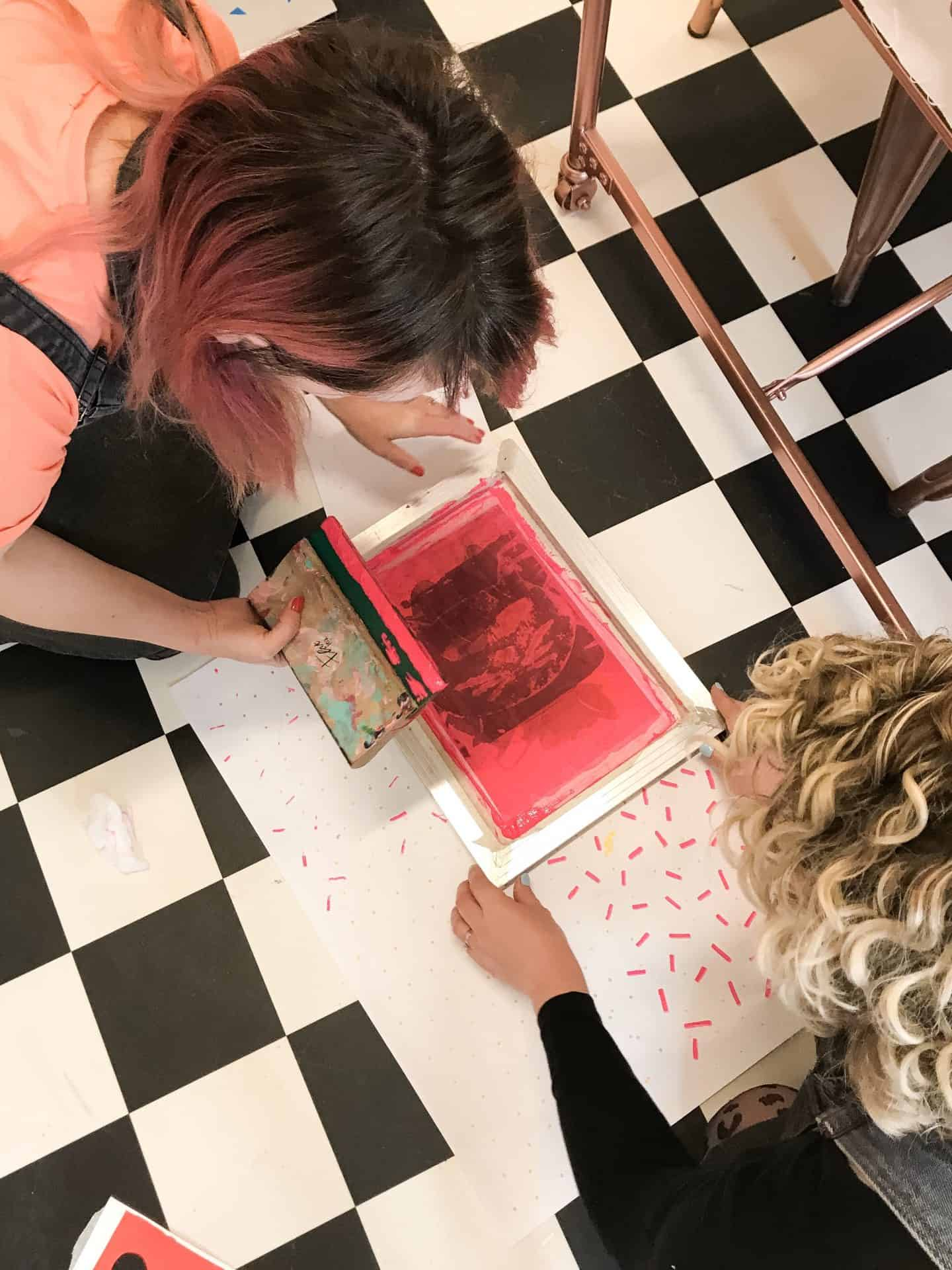 Becky Pink and Est from Origami Est screen printing at Oh My Cakery