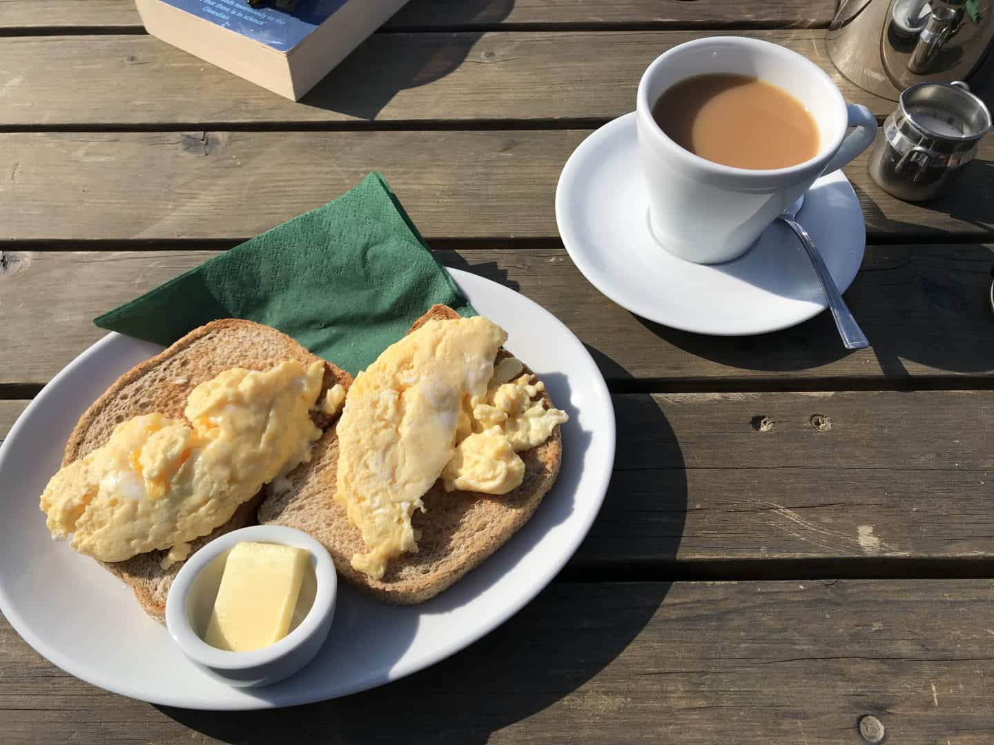 Delicious scrambled eggs and tea