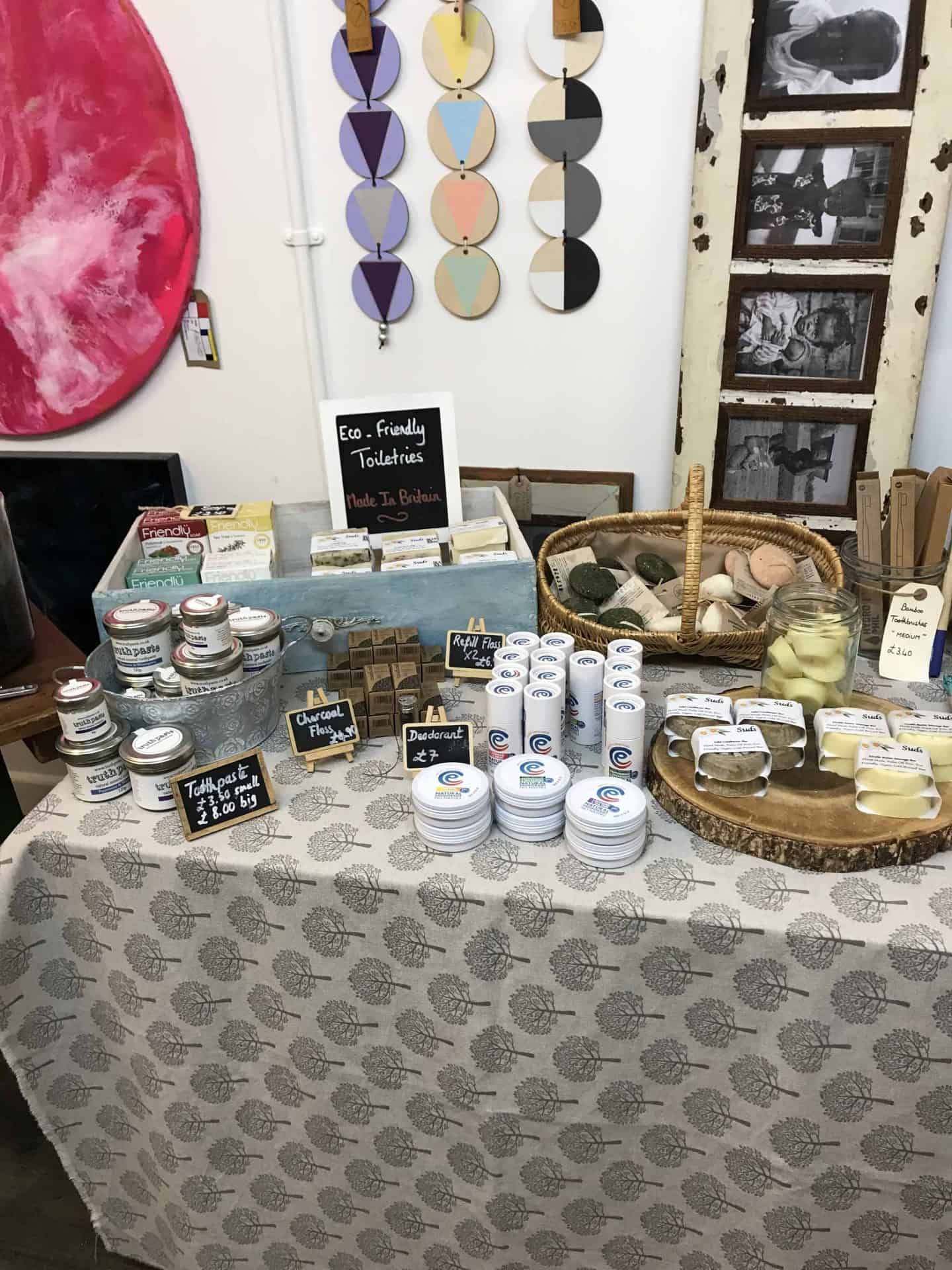 Zero waste shopping at Eco-friendly toiletries at the My Refill Market sustainable stores pop up at On The HIgh Street in Stony Stratford