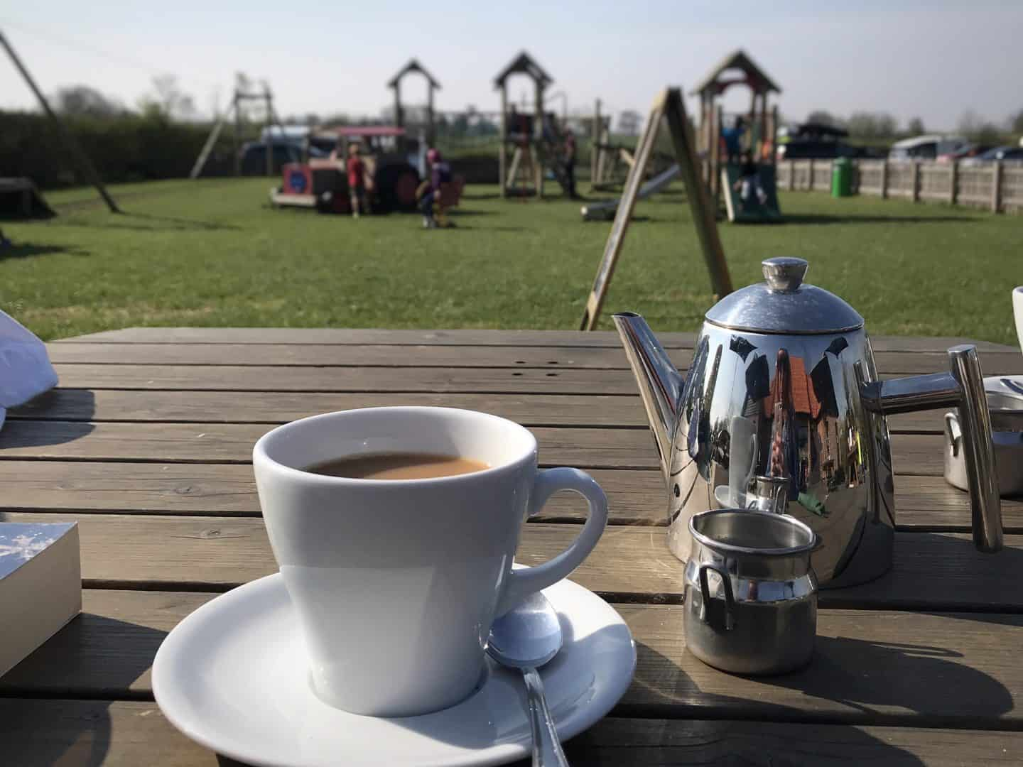 Enjoying some proper loose-leaf tea overlooking Haw Wood Farm's play area
