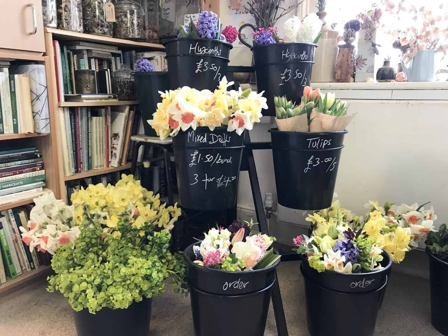 Flowers at Branch Out MK sustainable store in Stony Stratford