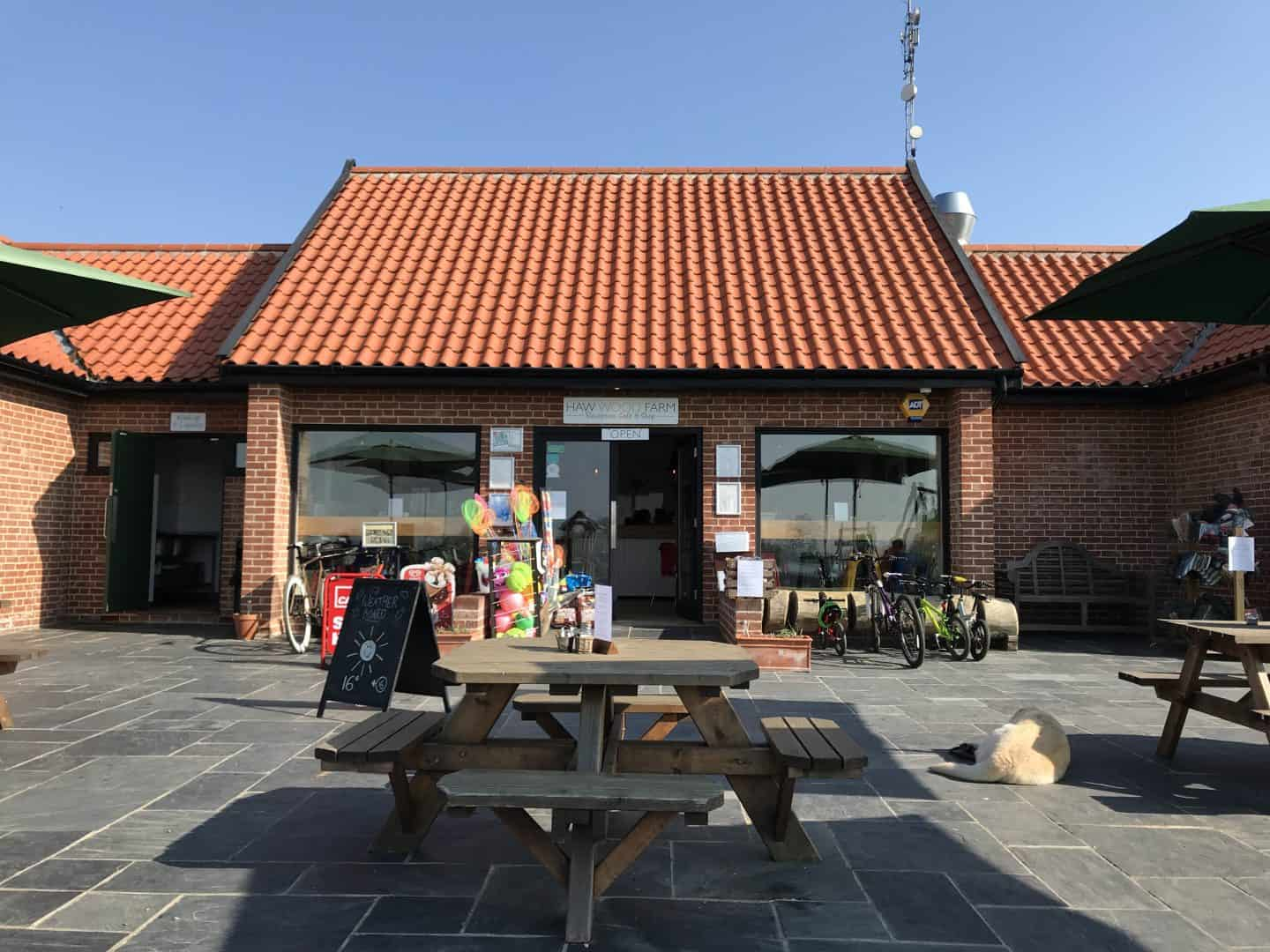 Haw Wood Farm's shop and cafe with outside and indoor seating