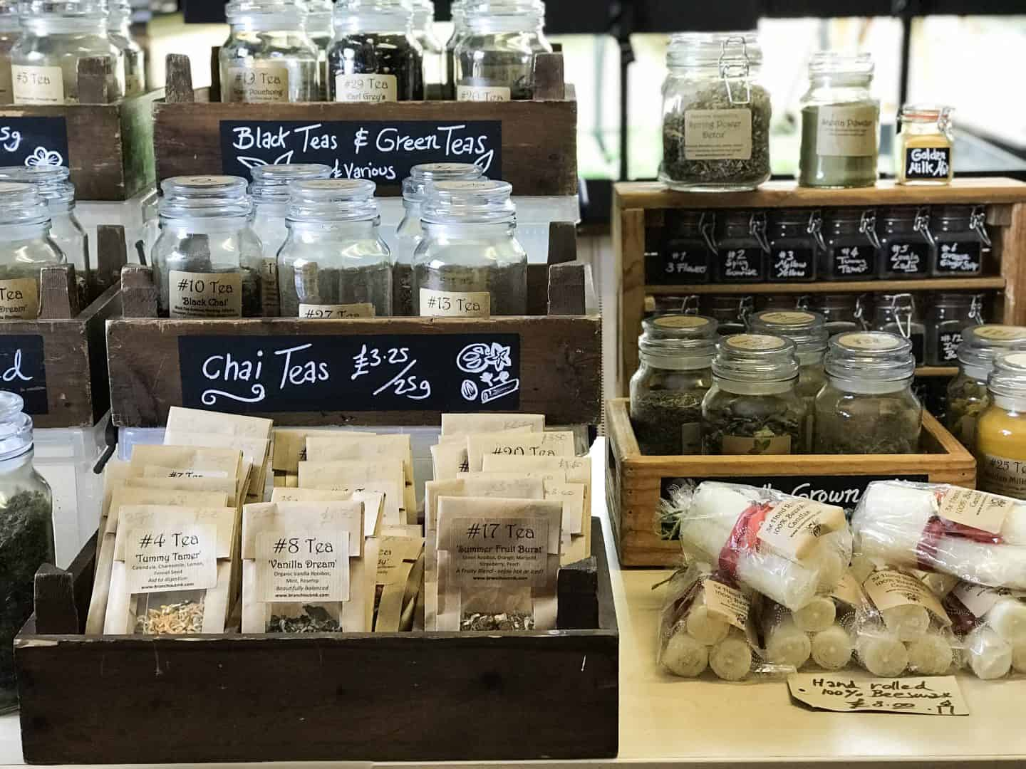 Herbal teas at Branch Out MK sustainable stores