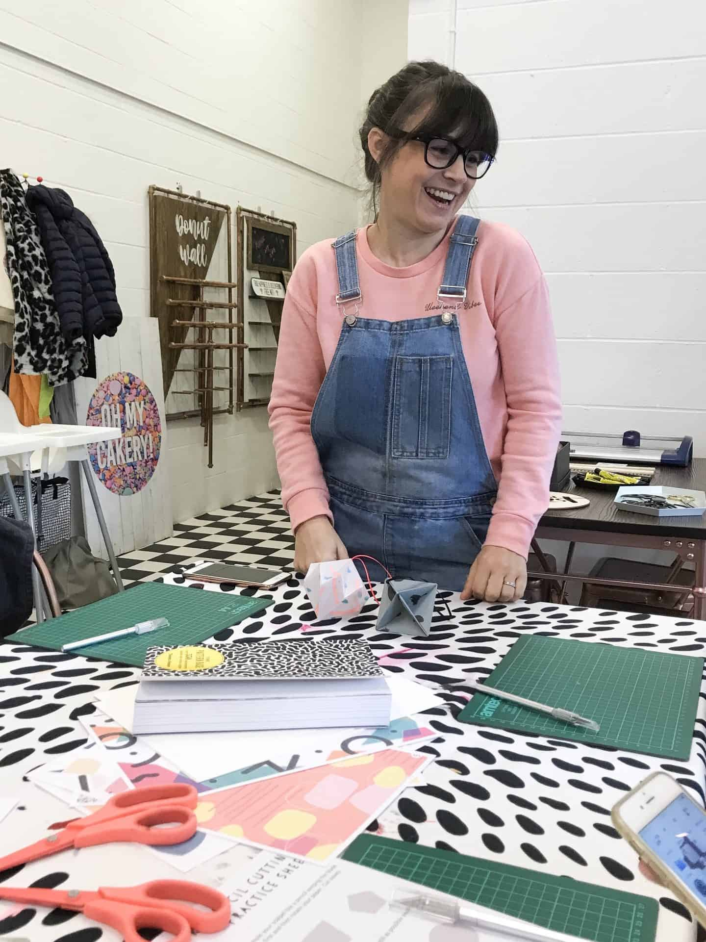 Steph from Flat 102 at her screen printing and origami workshop