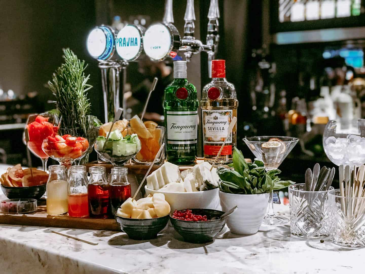 The well stocked gin bar at the new-look Wavendon Arms