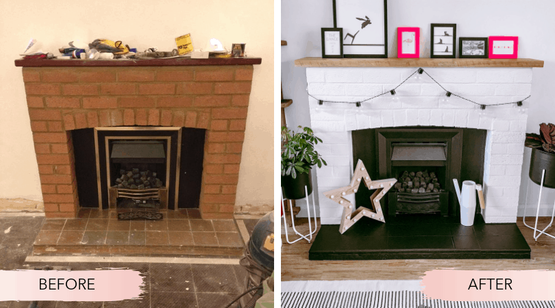 Before and after painting our brick fireplace and brass fire