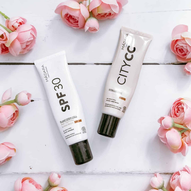 Madara Organic Skincare SPF30 facial sunscreen and City CC