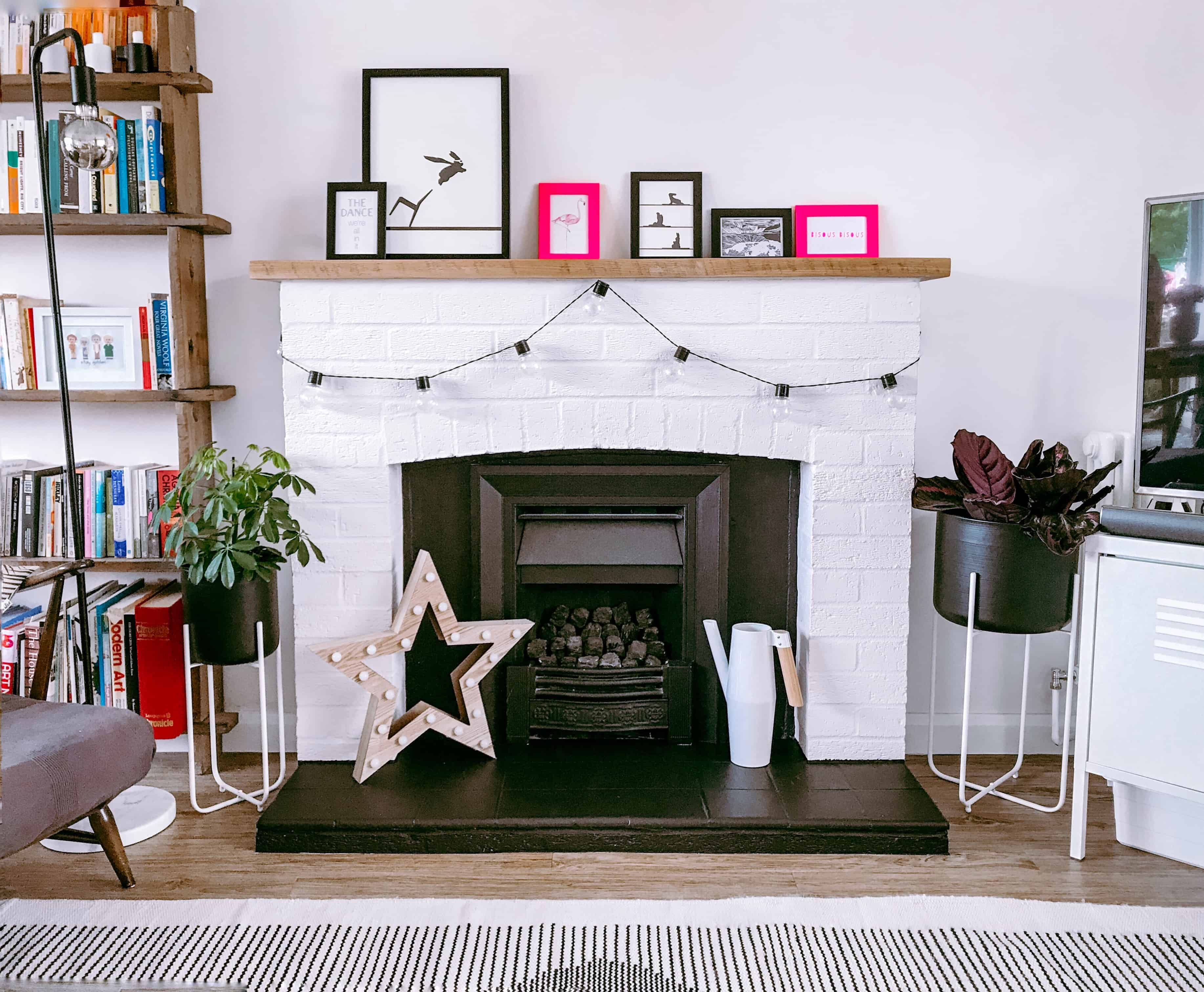 Painted Fireplace and Gas Fire