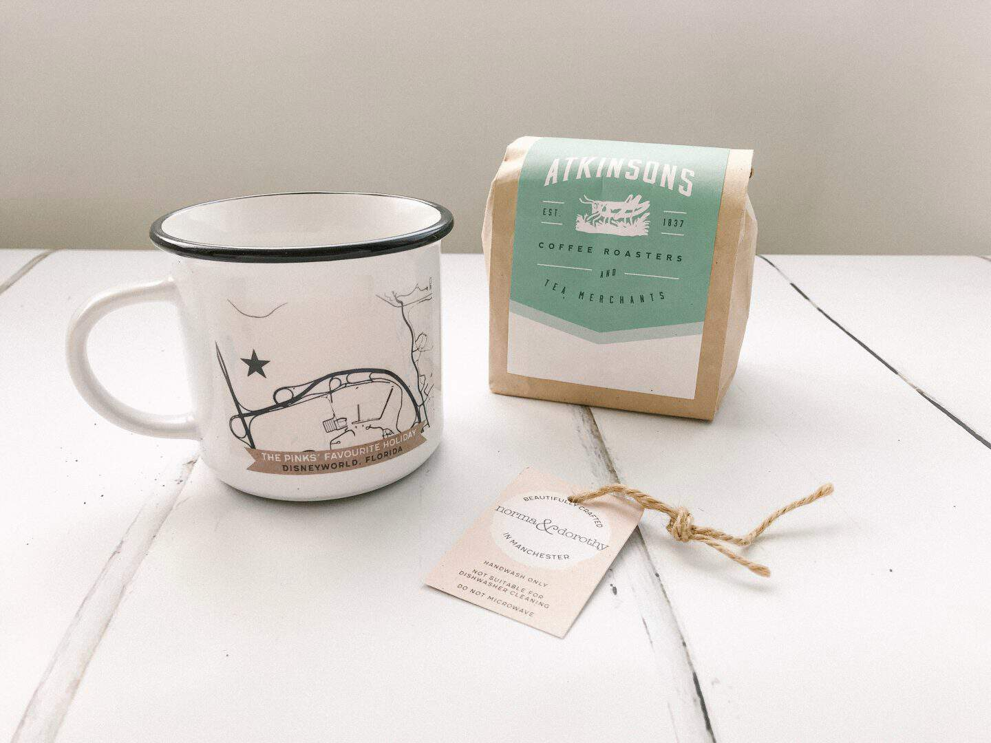 Personalised mug and coffee from Norma & Dorothy is a great Father's Day present