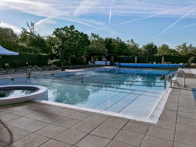 Steam rising off the outdoor pool at David LLoyd Clubs, Milton Keynes