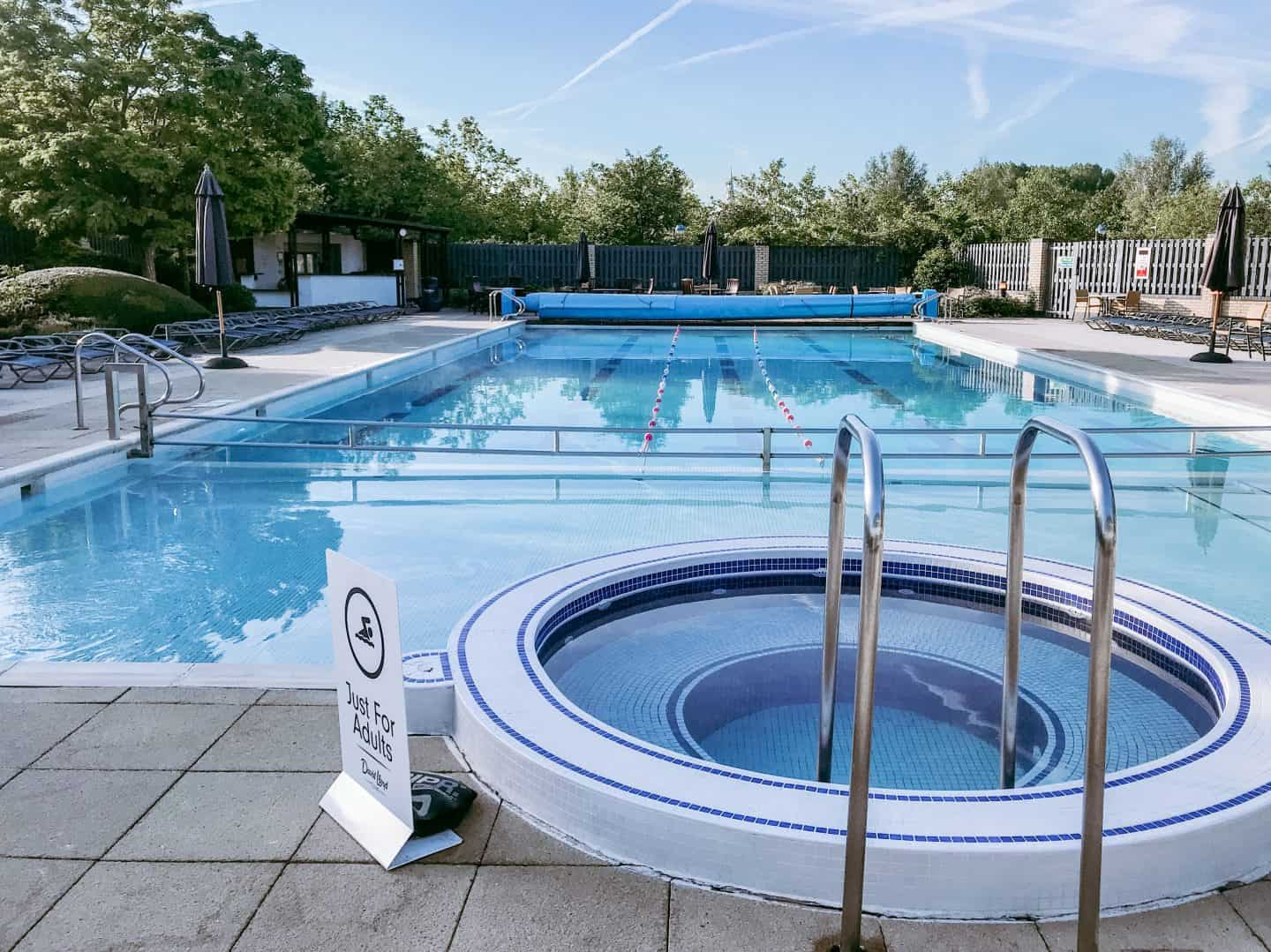 The outside swimming pool and hot tub at David LLoyd Clubs, Milton Keynes