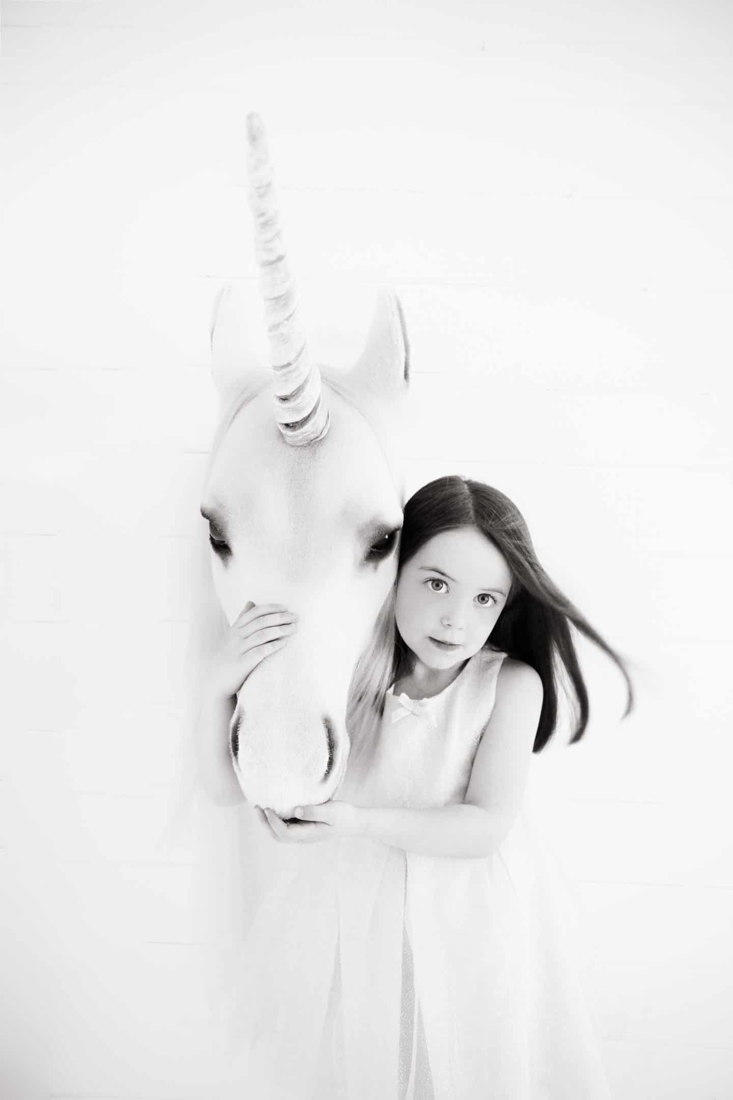 Thea and a unicorn photographed by Shaneen Rosewarne Cox
