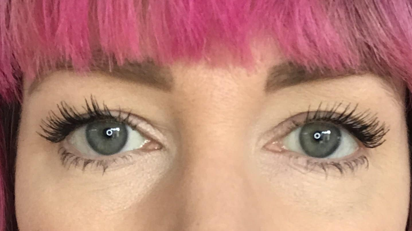 Wearing two coats of NATorigin Lengthening Mascara for Sensitive Eyes