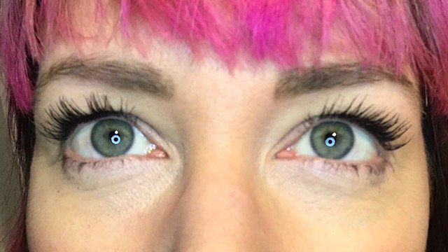 Wearing two coats of NATorigin Lengthening Mascara for Sensitive Eyes at the end of the day