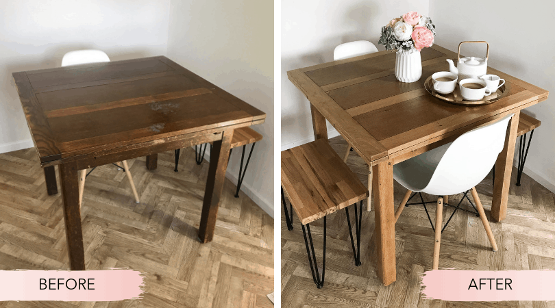 Before and after photos of our vintage table restoration.
