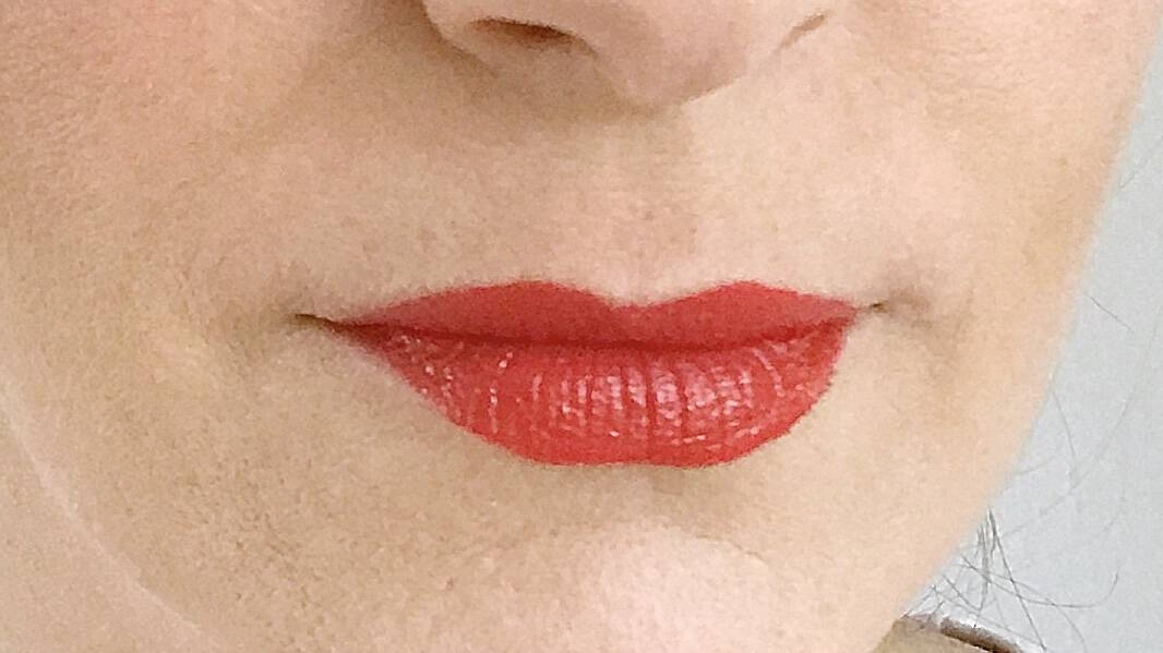 Freshly applied Ere Perez Olive Oil Lipstick in Circus.jpg