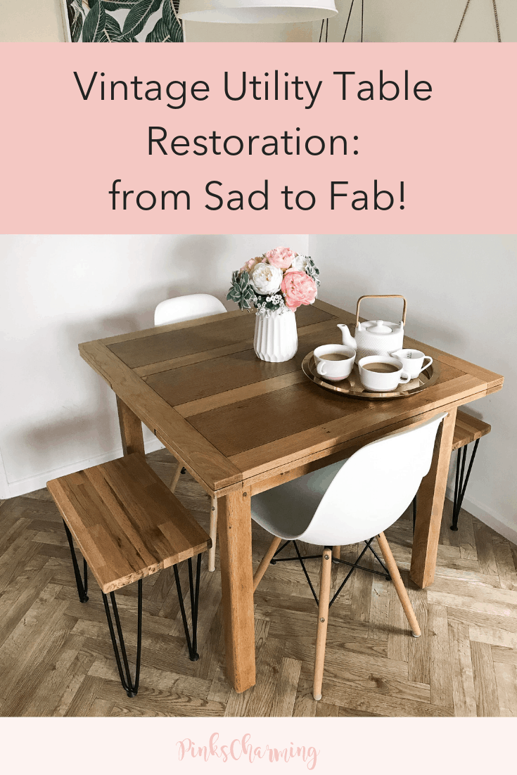 Vintage Utility Table Restoration: From Sad to Fab!