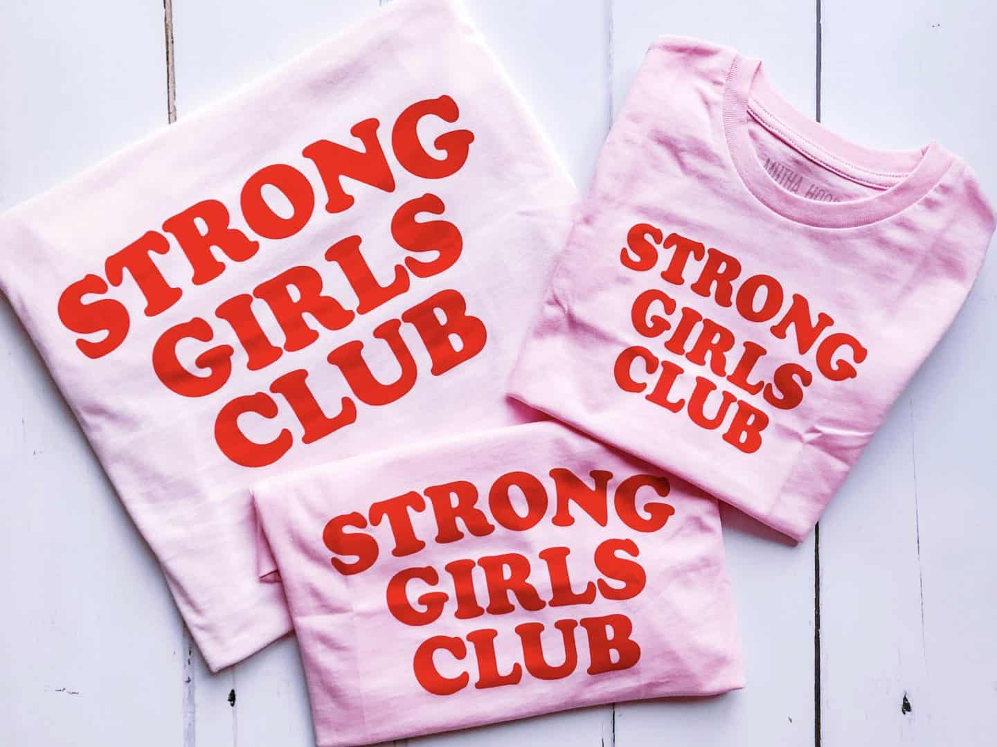 Three Strong Girls Club pink and red organic ethical empowerment T-shirts by MuthaHood