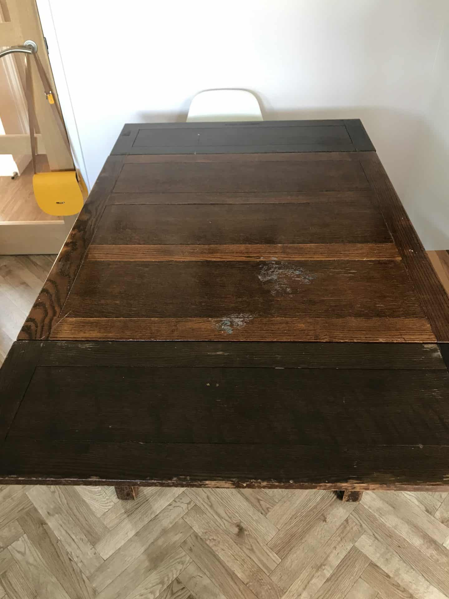 Utility table before restoration