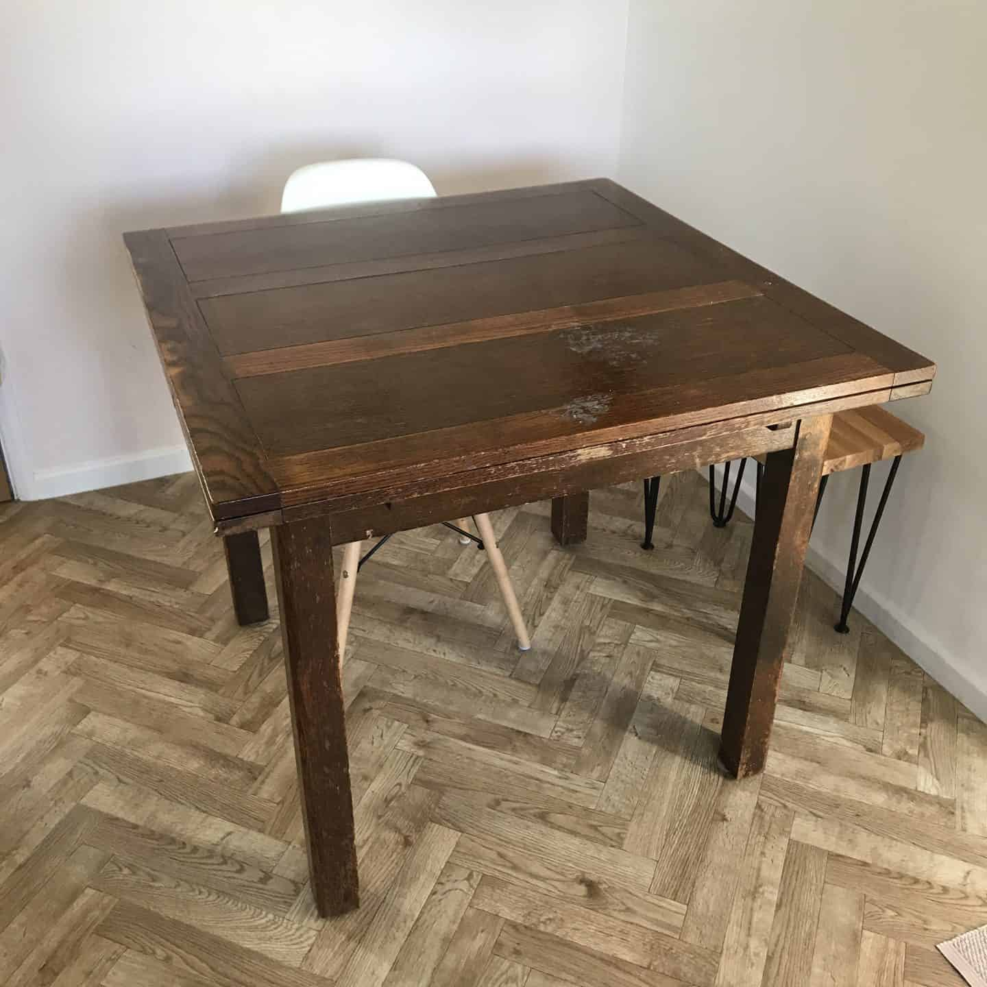 Vintage utility table before it was restored
