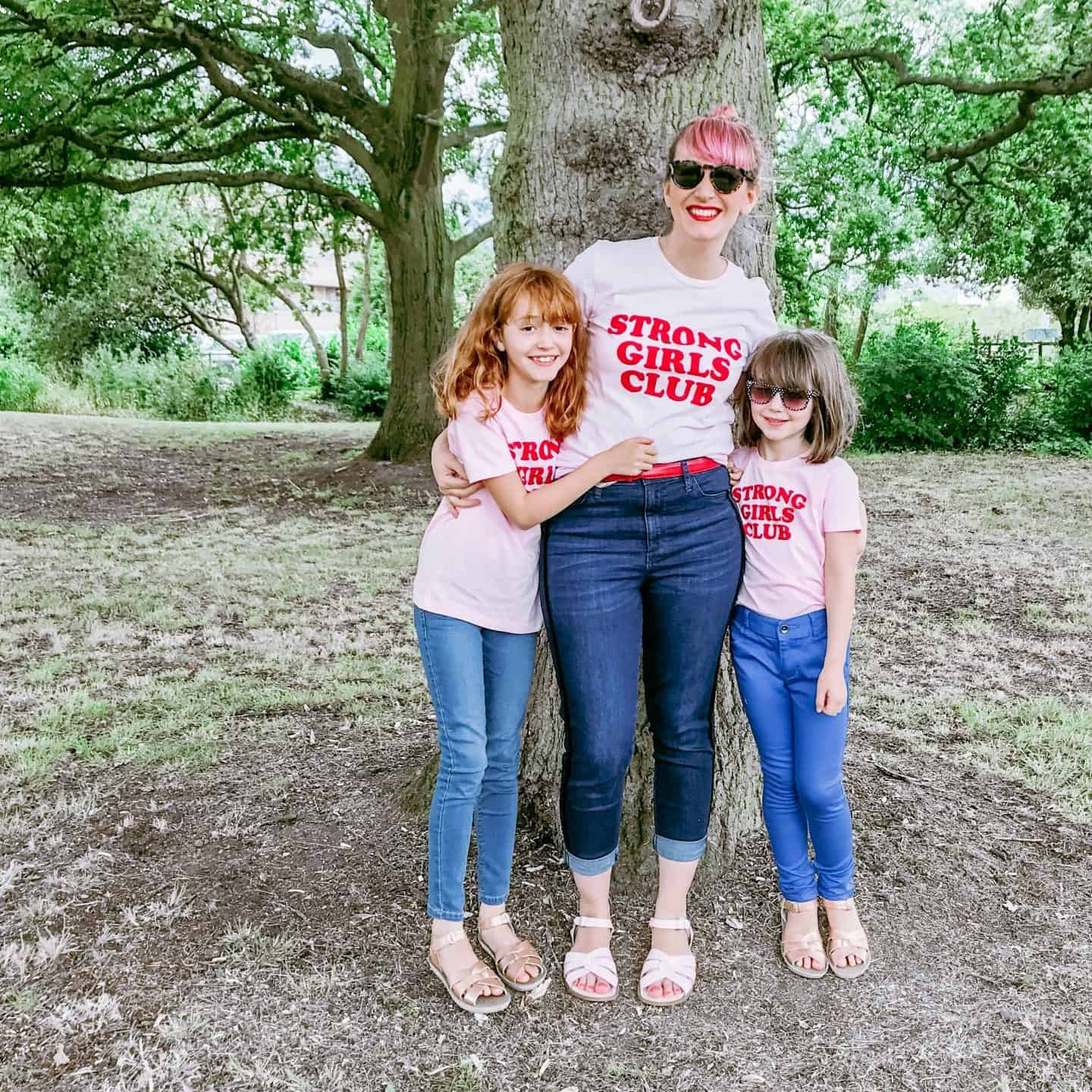 Wearing organic, ethical empowerment Strong Girls Club T-shirts