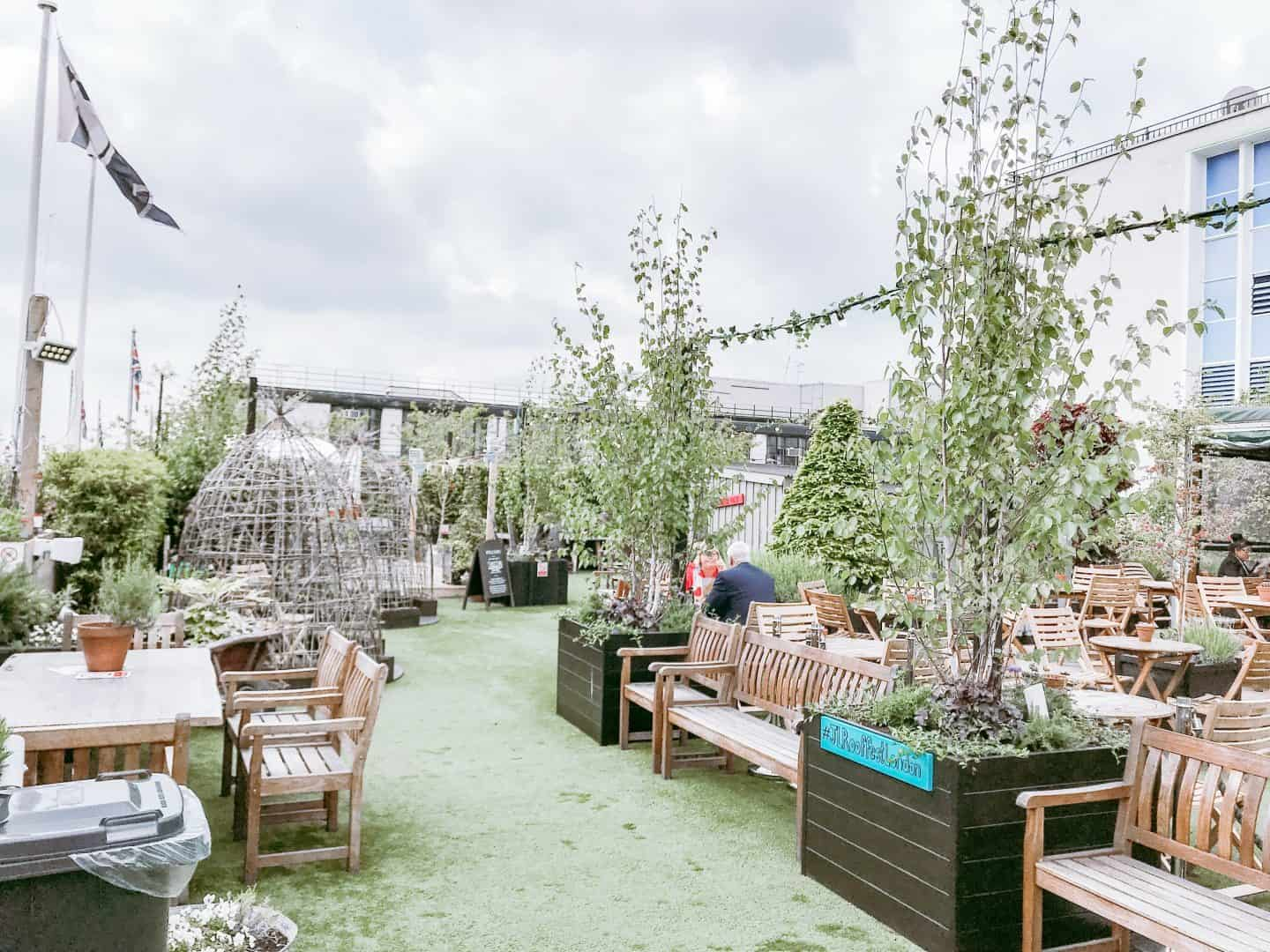 End of summer scenes at John Lewis' Roof Garden London