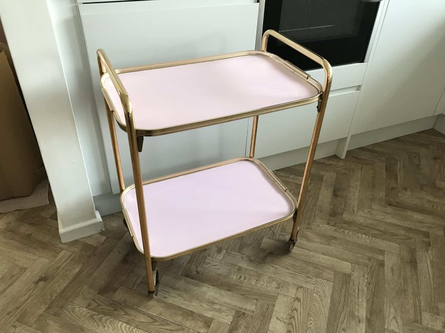 How to Upcycle a Drinks Trolley Using Frenchic Paint. My finished vintage tea trolley blush pink Frenchic Al Fresco makeover