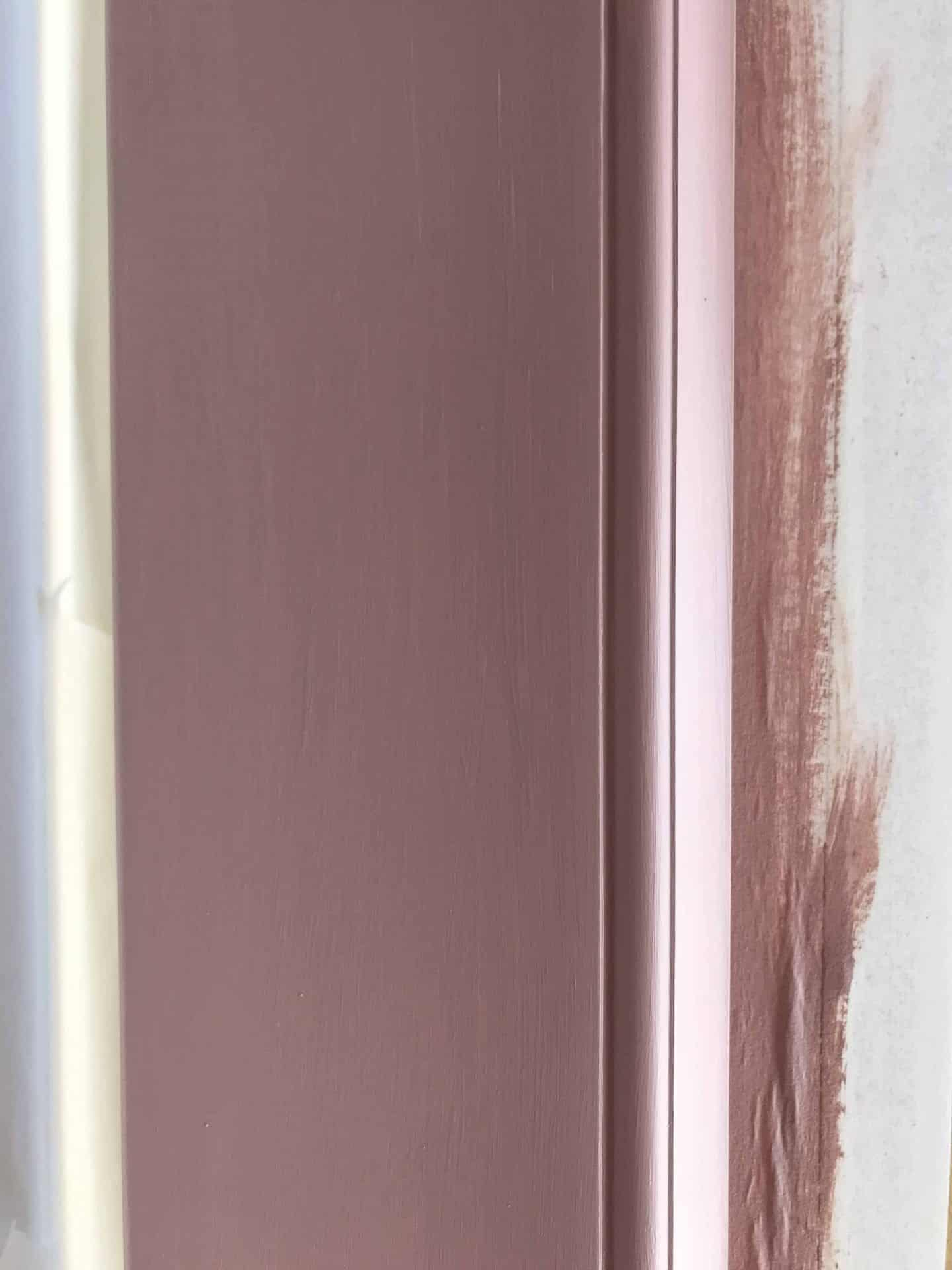 3 coats of Frenchic Dusky Blush Al Fresco paint on a uPVC door