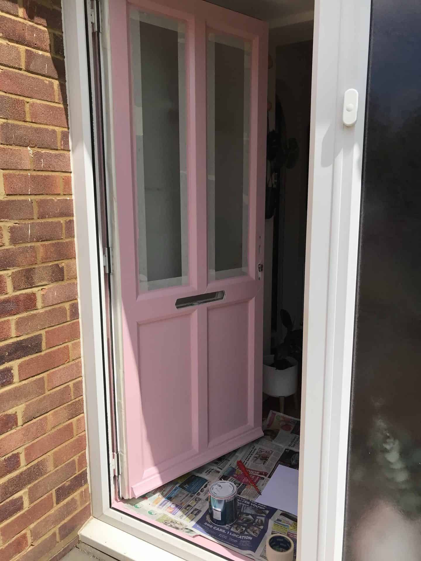 Painting our plastic front door pink