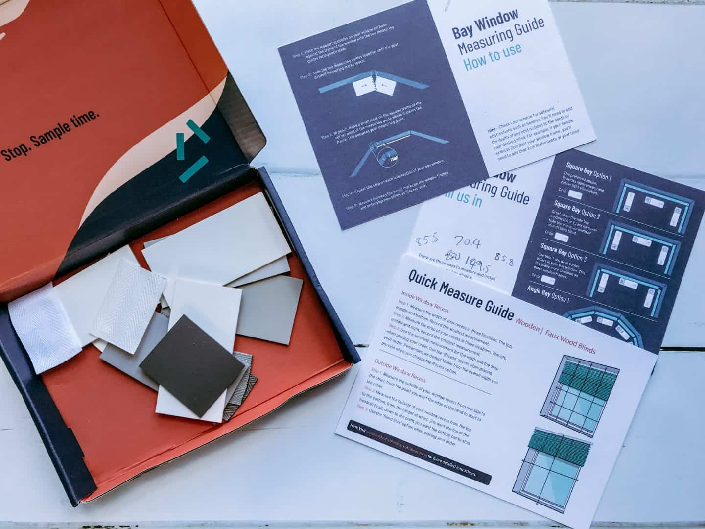 Samples and blind measuring guides from Make My Blinds