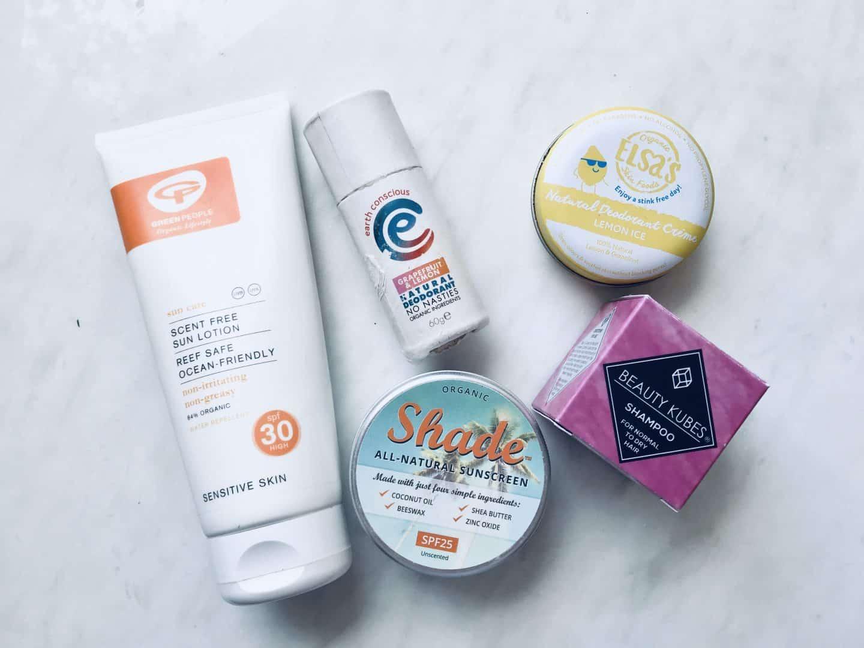 Sun cream, deodorant and shampoo easy zero waste swaps