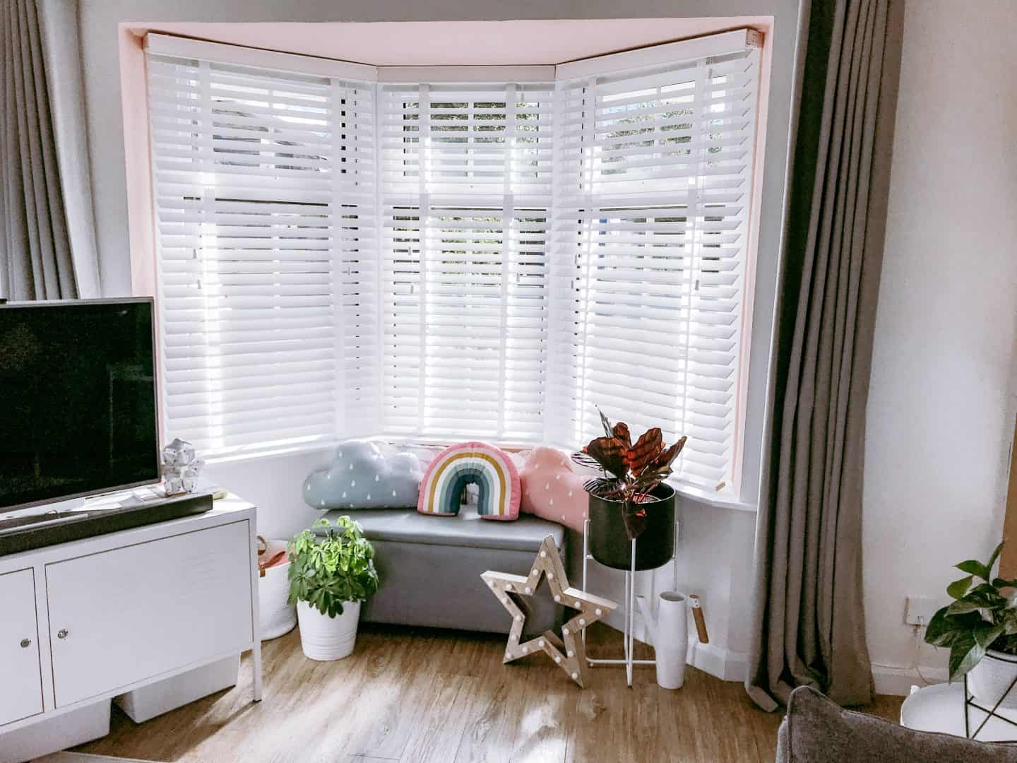White wooden 50mm wooden blinds with tapes