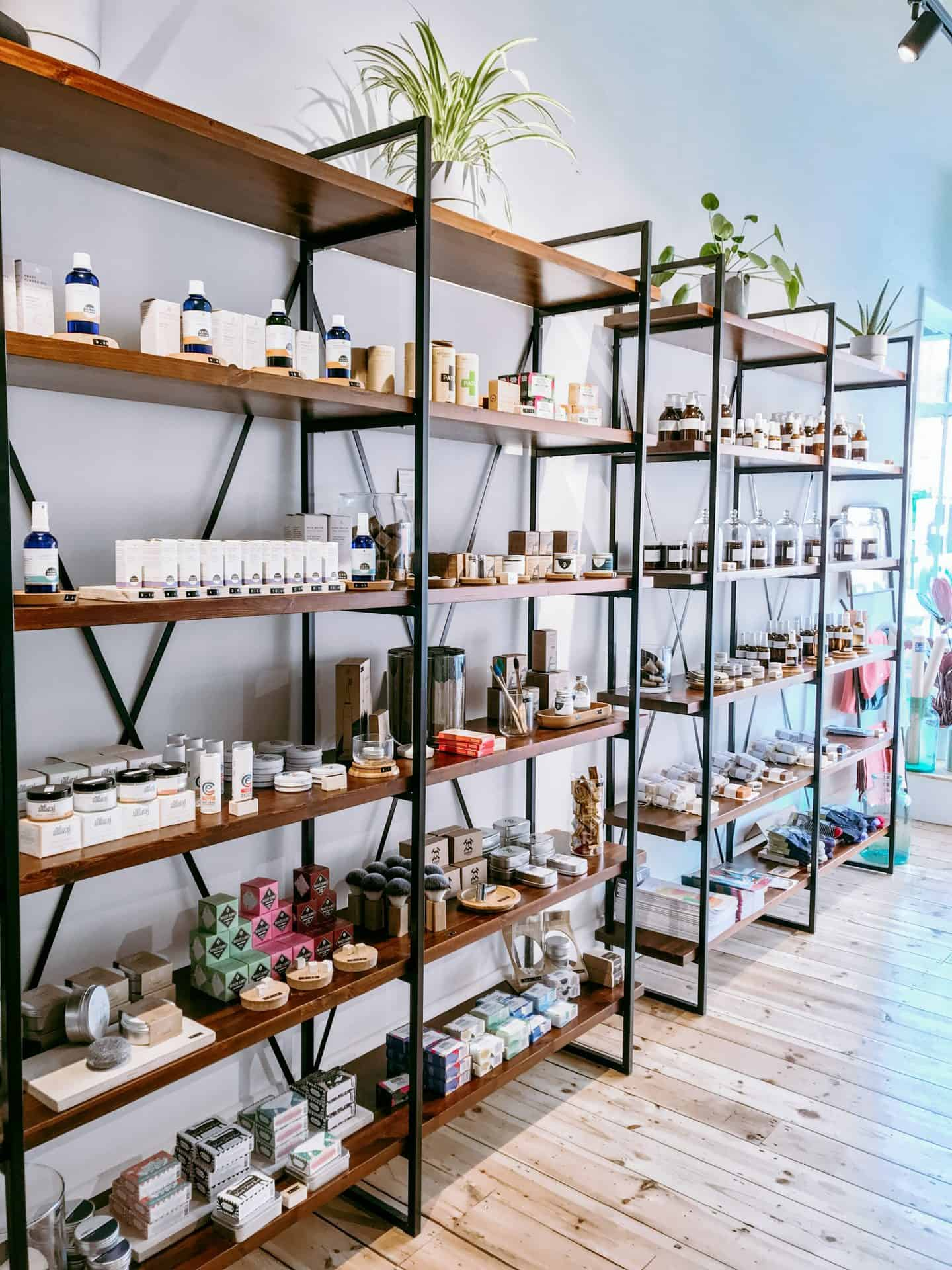 Barnes + Binns General Store shelves full of eco-friendly products