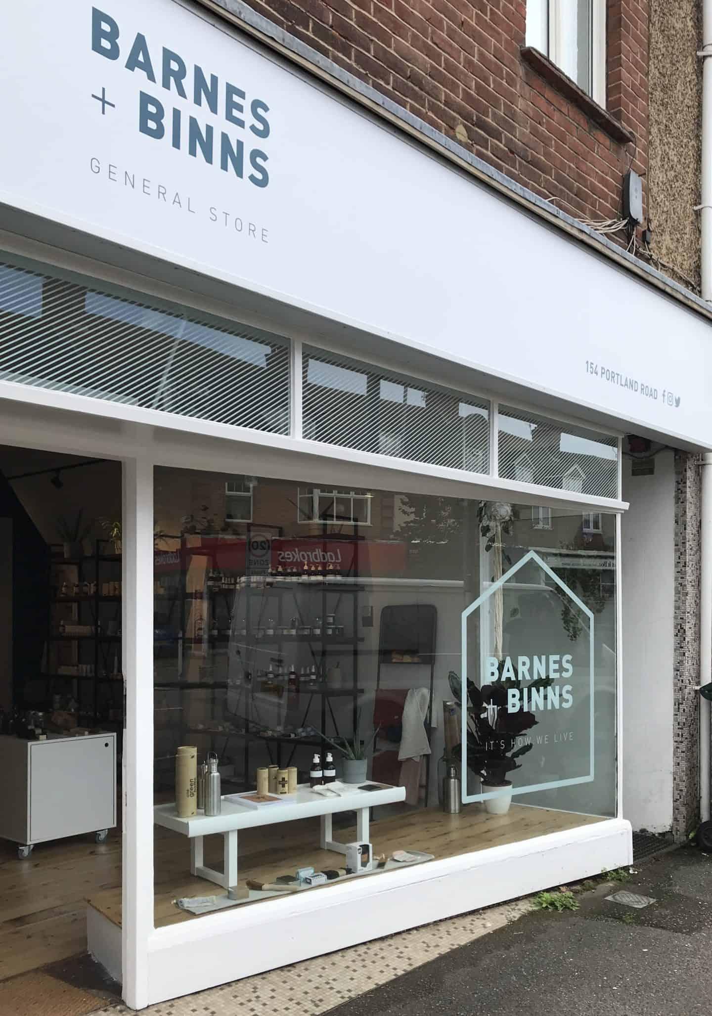 Barnes + Binns shopfront in Hove