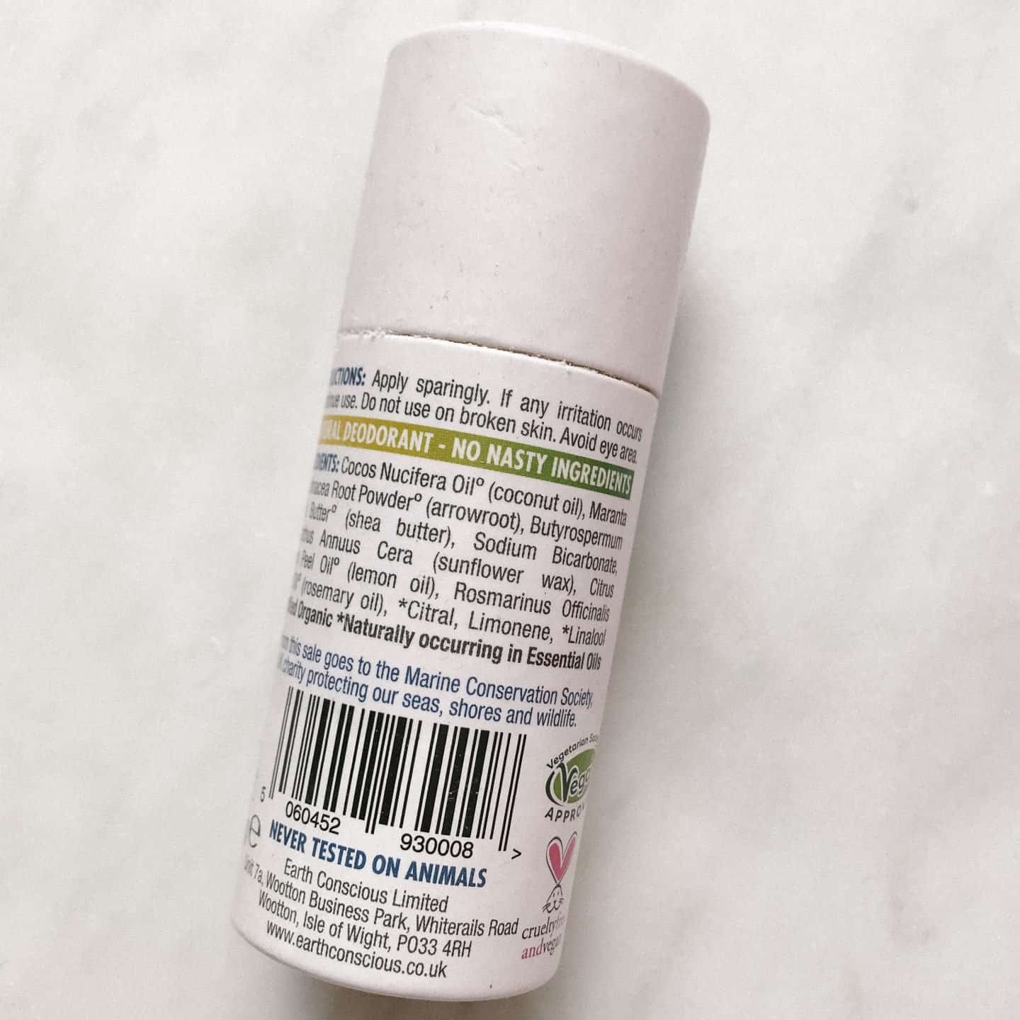 Earth Conscious No Nasties zero waste deodorant ingredients