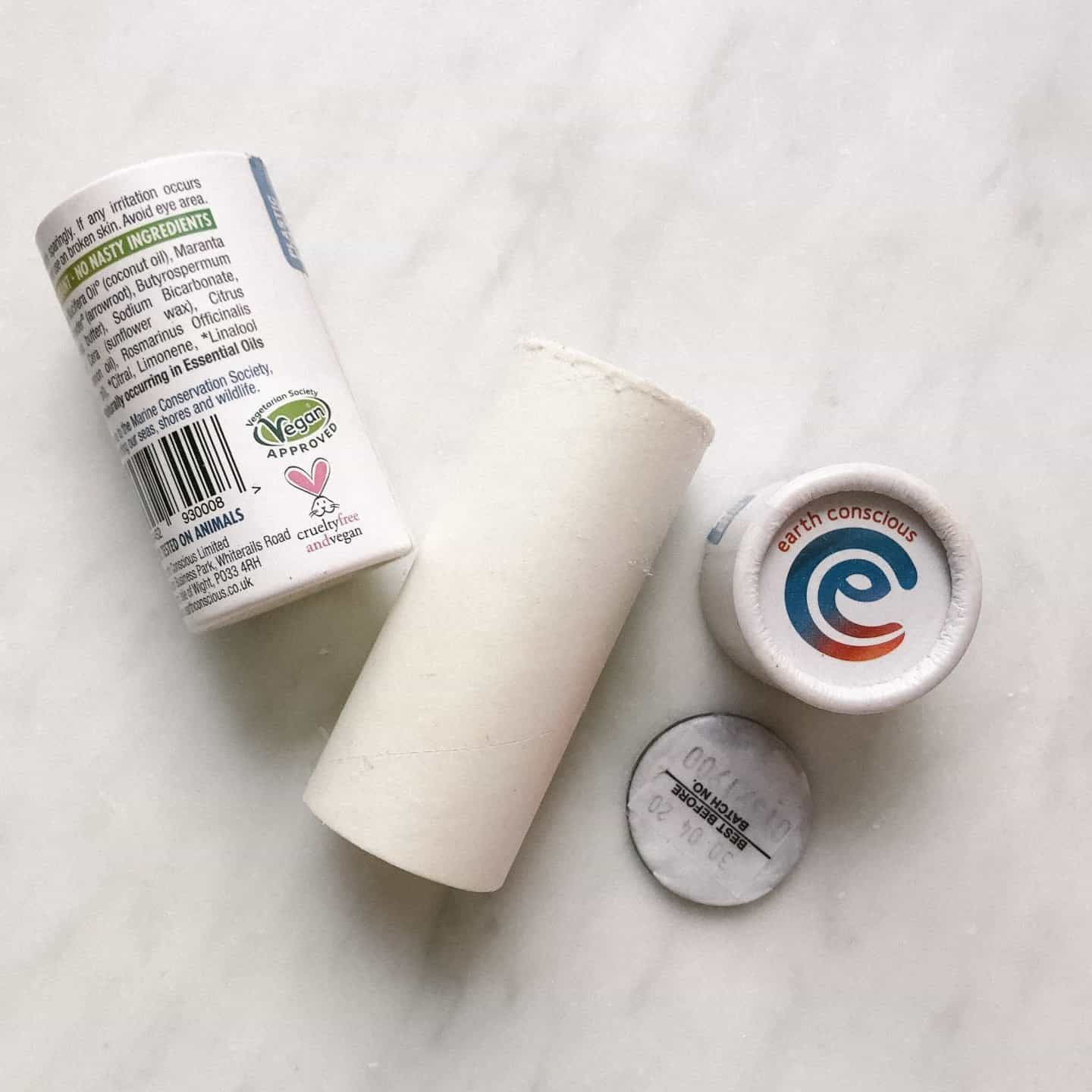 Earth Conscious No Nasties zero waste deodorant zero waste cardboard packaging