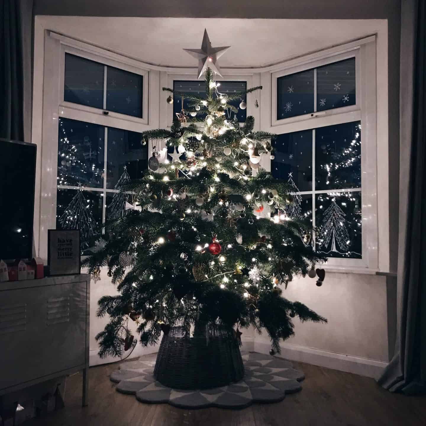 Lit up Christmas Tree in front of a bay window