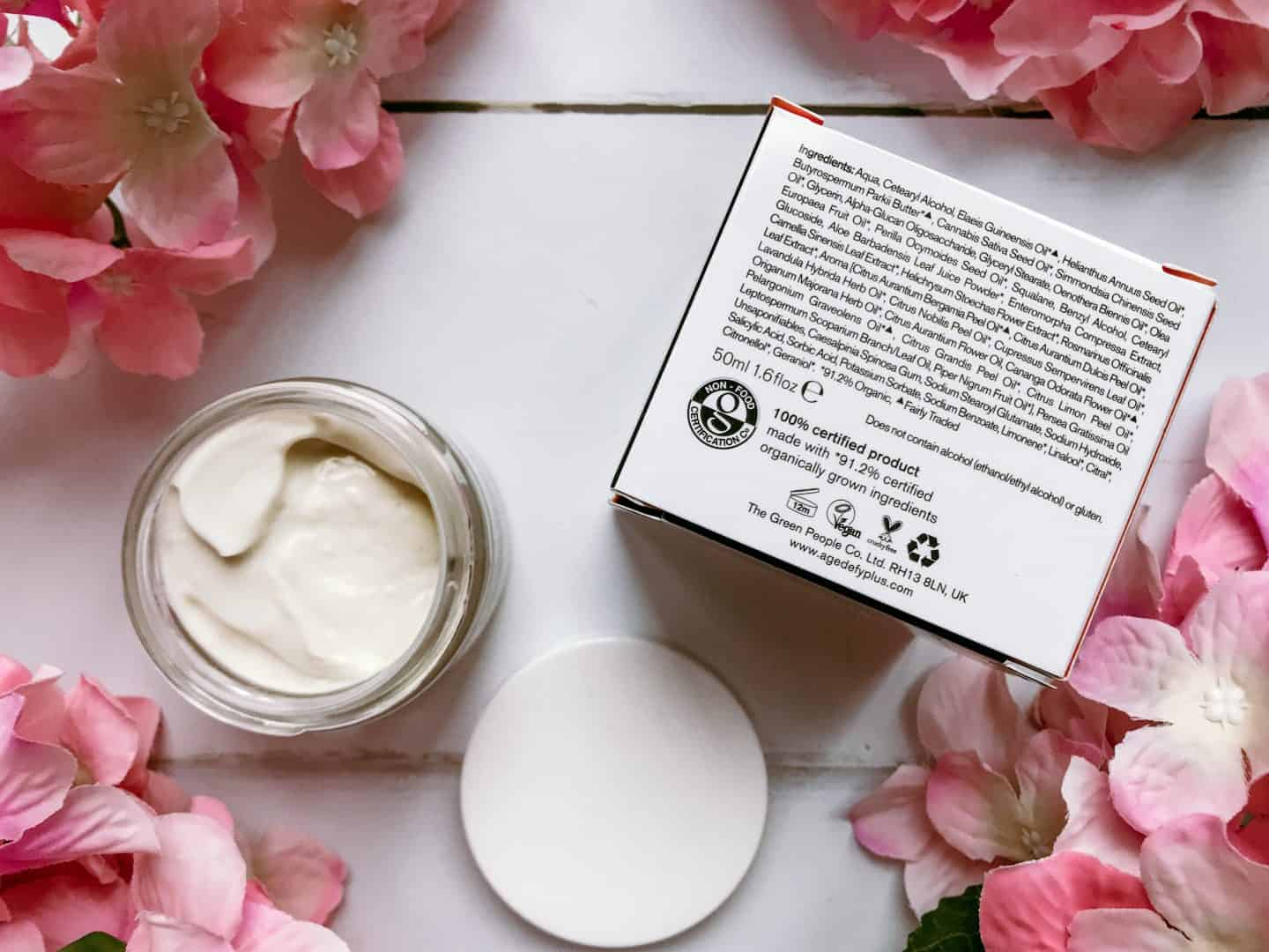 Organic Skincare for 35+ from Green People- Age Defy+ by Cha Vøhtz Hydra-Glow Sleep Mask ingredients
