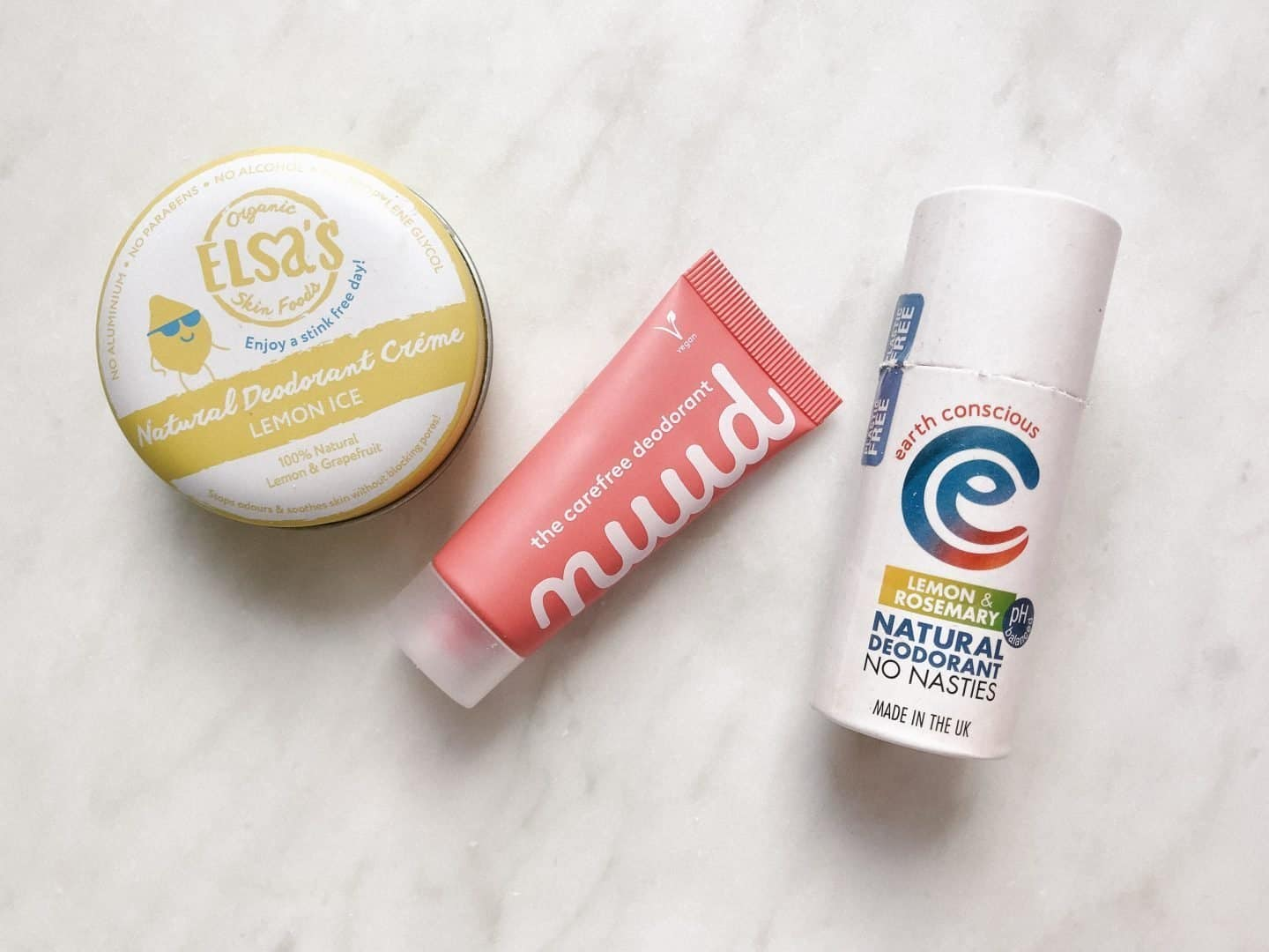 Tried and Tested Zero Waste Natural Deodorants from Elsa's Organic Skinfood, Nuud and Earth Conscious