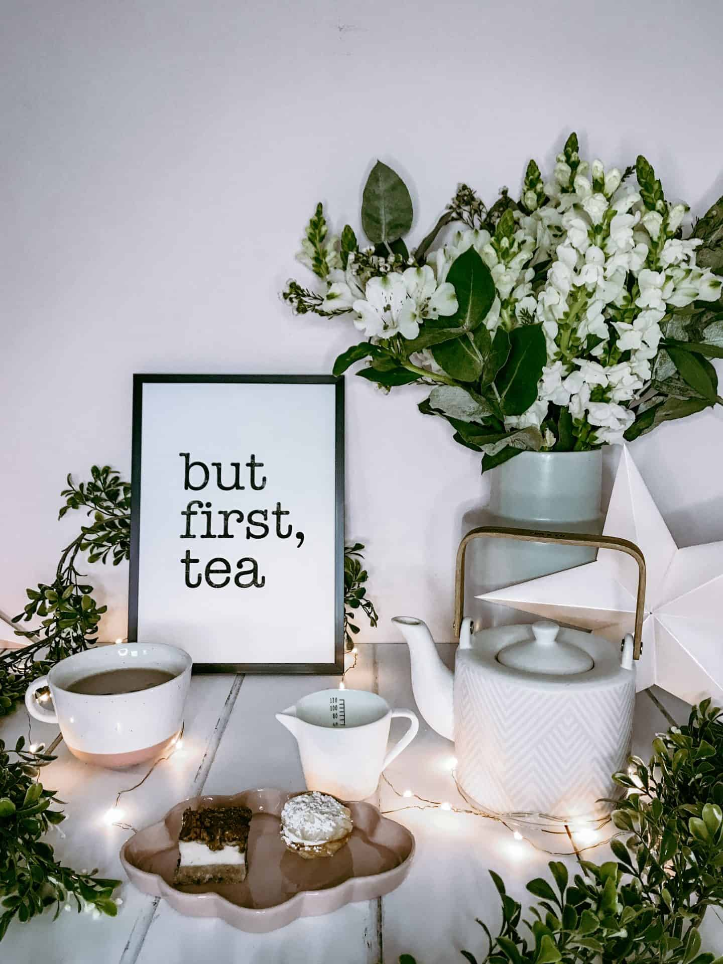 But first, tea monochrome typography print by Latte Design