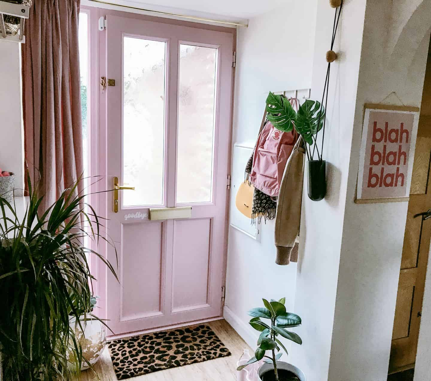 Hall way with pink door and velvet curtain to make it cosy