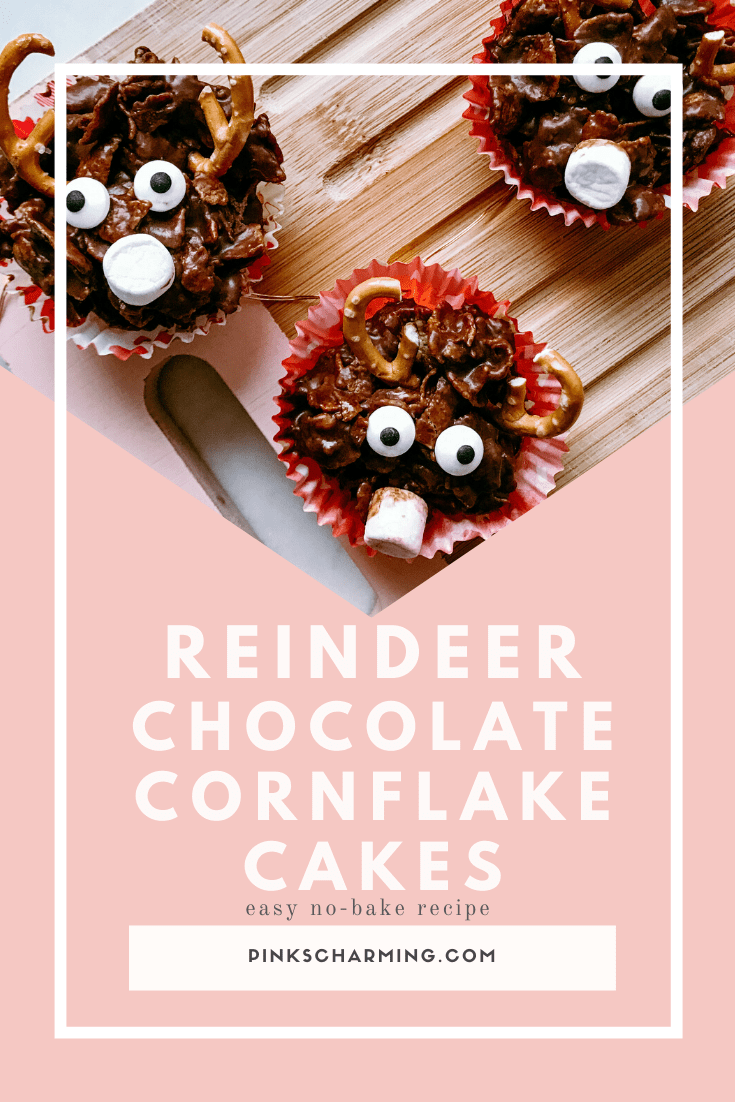Easy, gooey and delicious no-bake chocolate cornflake reindeer face cakes - the perfect Christmas treat for kids and grown ups.