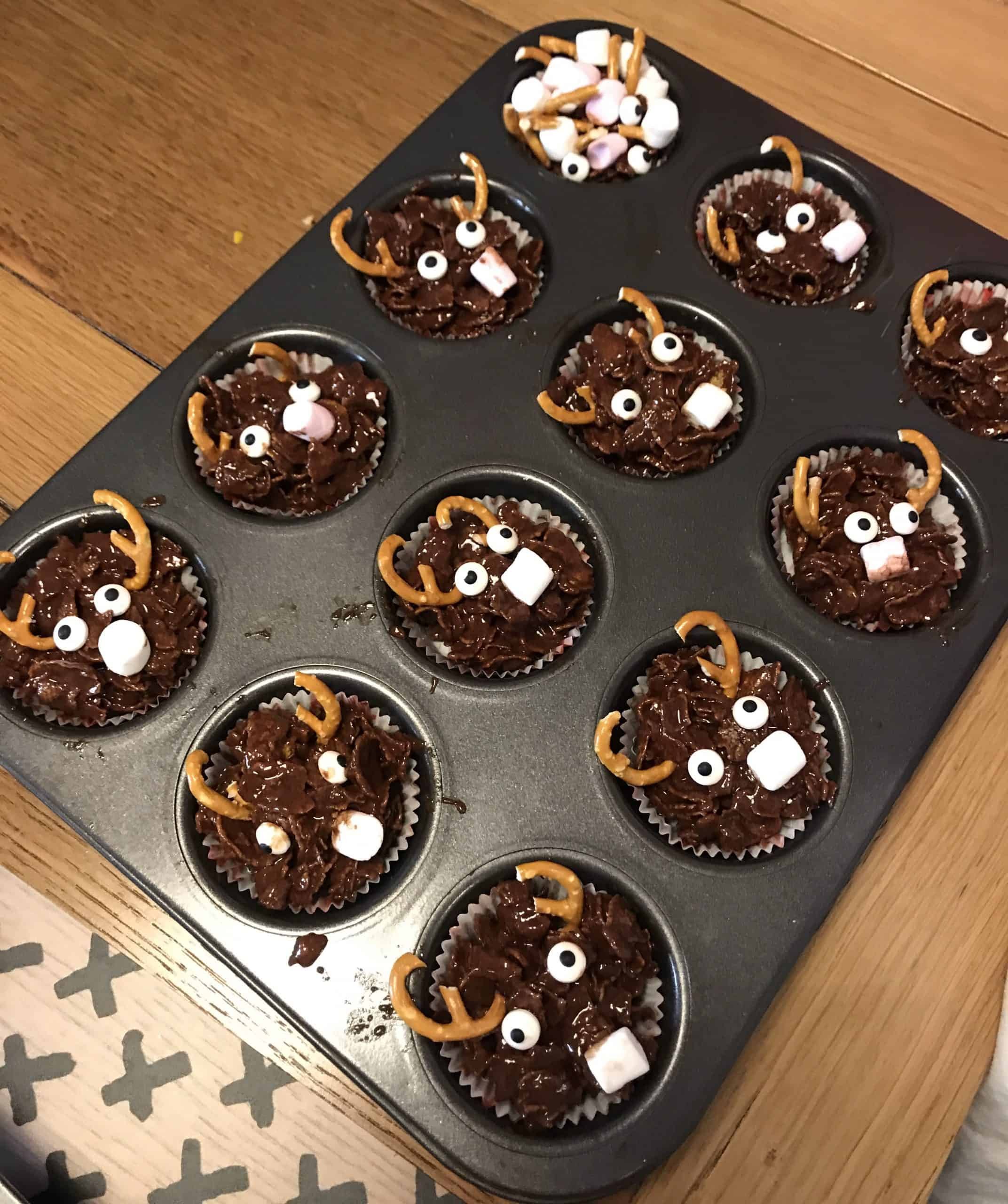 Our finished easy no-bake reindeer chocolate cornflake cakes
